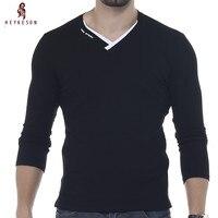 HEYKESON Male 2017 Brand New Long Sleeve Solid T Shirt V Neck Collar Slim Men T