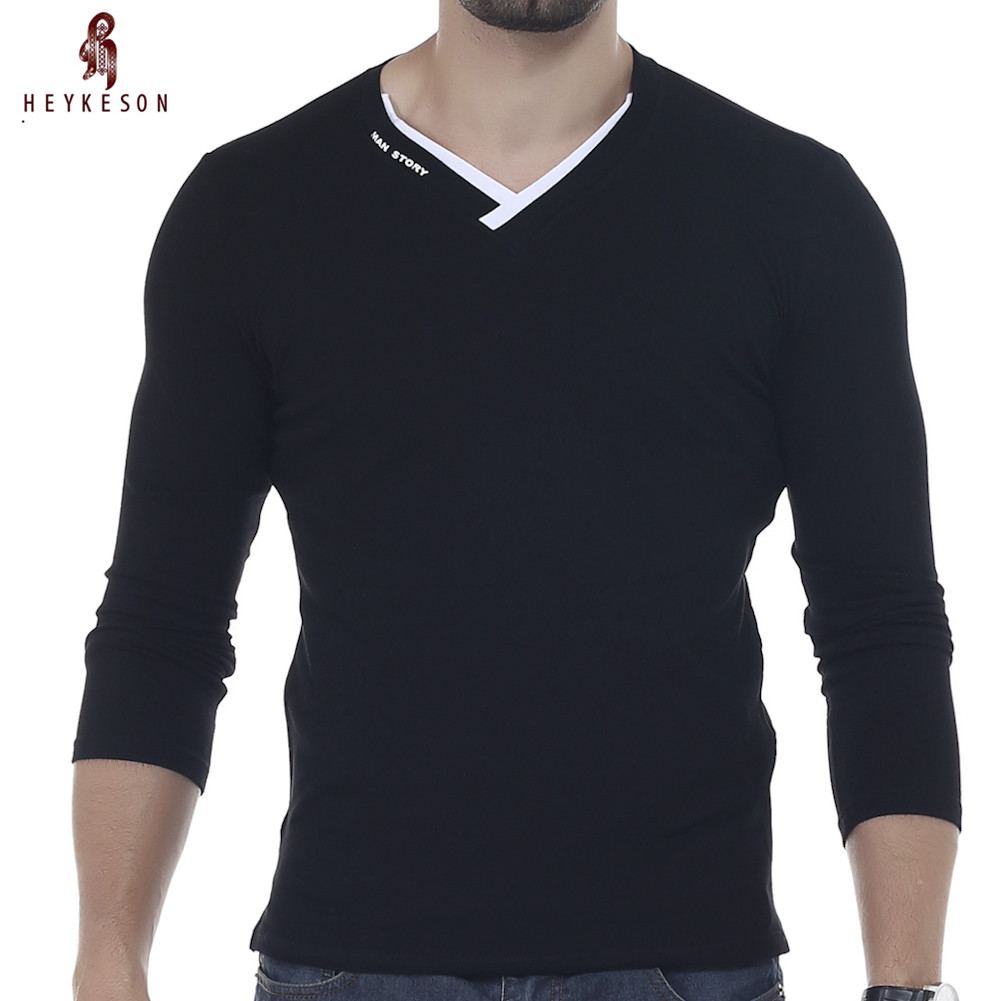 HEYKESON Male 2017 Brand New Long Sleeve Solid T Shirt V-Nec