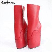 Sorbern модные красные ботильоны для женщин балетные костюмы на высоком каблуке танкетке Heelless обычай широкий Fit обувь дамы фетиш кабл