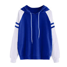 Womail Sweatshirt Female striped Patchwork kpop long sleeve Pullover Hooded Hoodies korean style Autumn Women's Sports Suit F719(China)