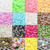 Wholesale 1 5 2 3 4 5 6 8 10 12mm AB Colors Flatback Pearl Beads