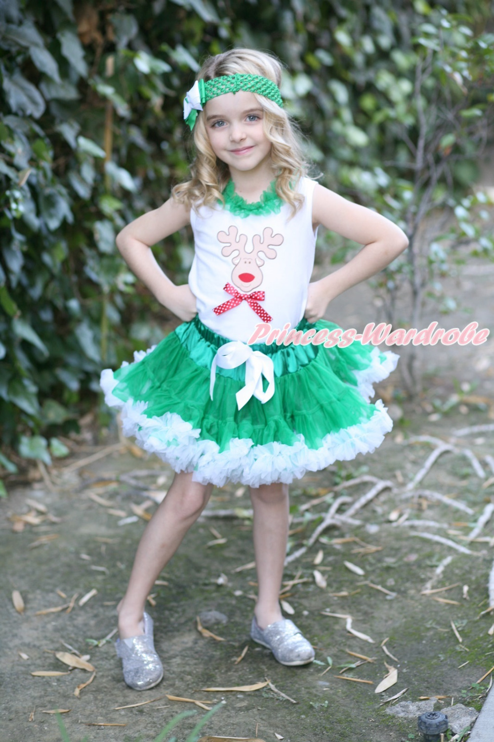 White Tank Top, Kelly Green Chiffon Lacing & Christmas Reindeer Print, Minnie Dots Bow With Kelly Green White Pettiskirt MAMG863 christmas hat reindeer white top minnie dots petal pettiskirt girls outfit nb 8y