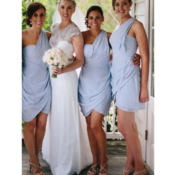 A-line One-Shoulder Asymmentric Pleated Ruffles Sheath Above-knee Short Custom-Made bridesmaid dresses