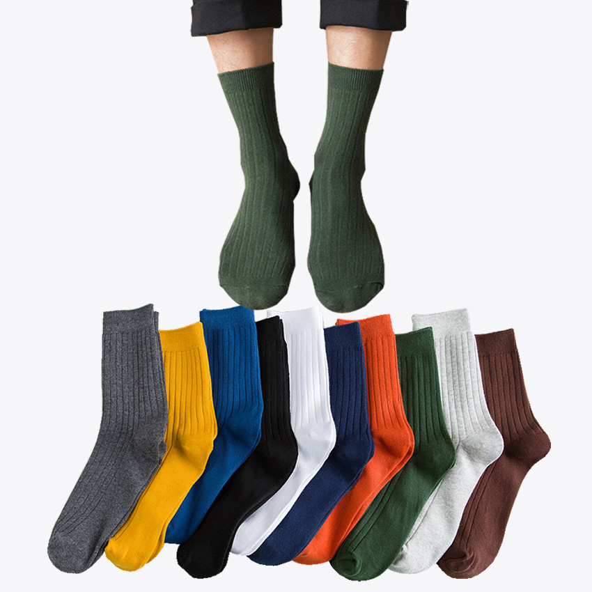10 pairs/lot Men Colorful Solid Color Daily Casual Socks Good Quality 10 Color Dress Business Cotton Sock Wholesale