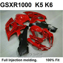 100% fit for Suzuki injection molding GSXR1000 05 06 black flames red fairings set GSXR 1000 2005 2006 VN14