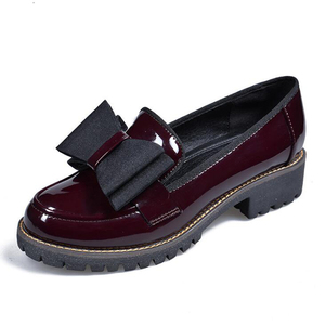 Image 5 - Butterfly Knot Women Flat Shoes Plus Size 42 Round Toe Bright Leather Shoes Woman England Style Spring Luxury Loafers