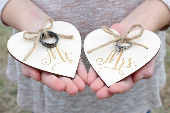 e7c1c16616 Mr and Mrs Wedding Ring Holders, Ring Bearer , Ring Holder Engraved Wood  Heart -in Party Favors from Home & Garden on Aliexpress.com | Alibaba Group
