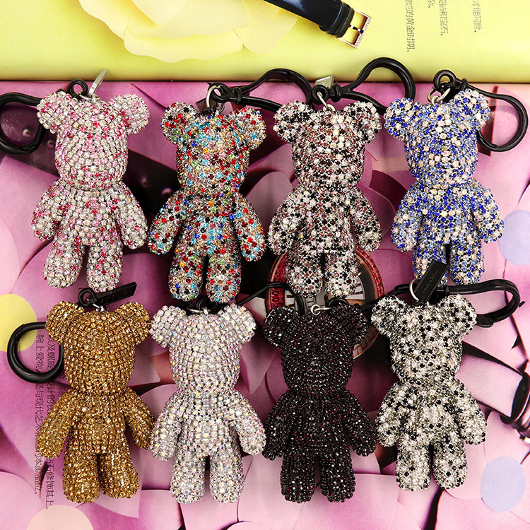 Cartoon Bomgom Popobe Bear Gloomy Keychain Car Key Chain Ring Holder For Bag Charm Full Violence Body Rhinestone Bear Pendant