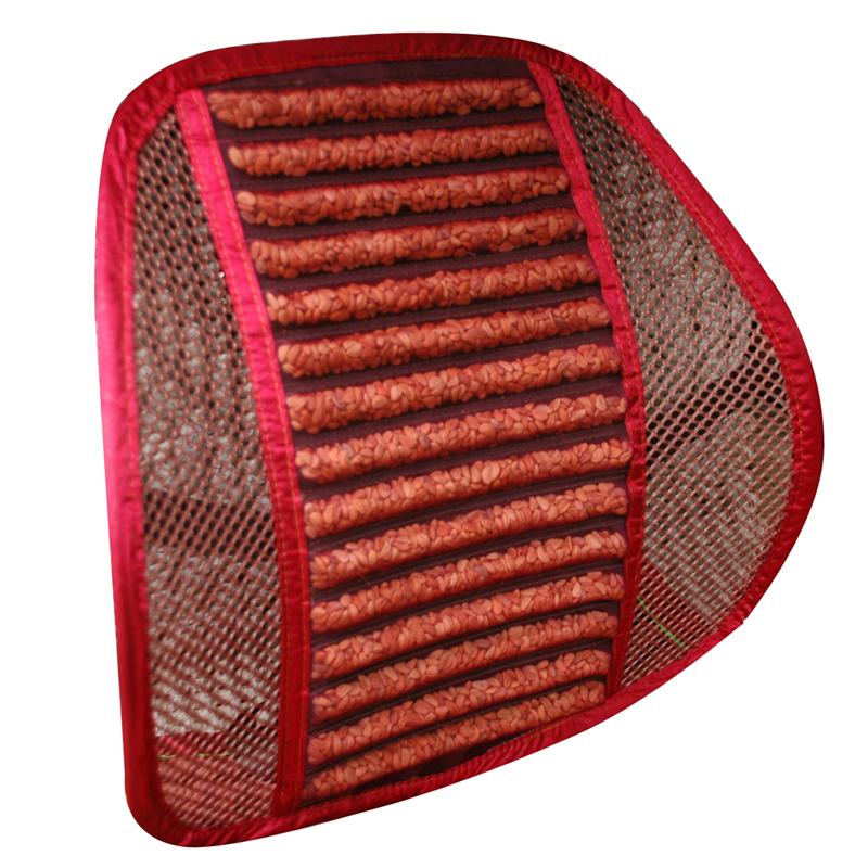 Lumbar Mesh Back Brace Support Office Home Car Seat Chair Ventilate Cool Cushion Pad with Hawthorn Seeds (Red)