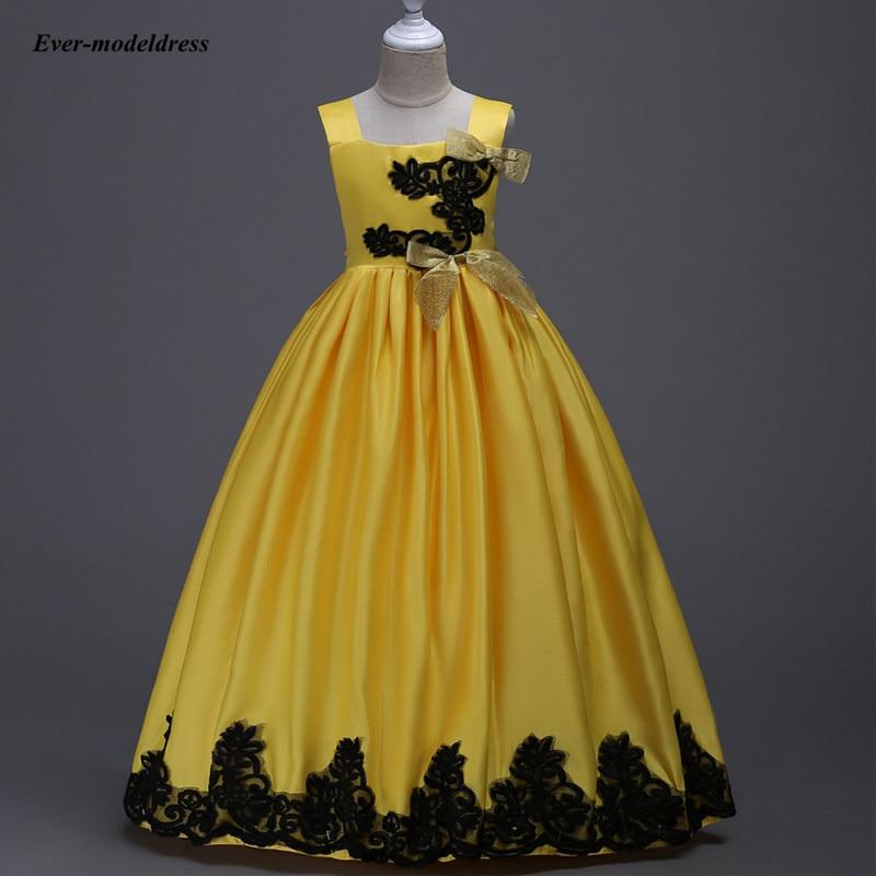 vestidos de novia 2019 Yellow Satin Ball Gowns   Flower     Girls     Dresses   Lace Appliques Bow Sash   Girls   Pageant   Dresses   Floor Length