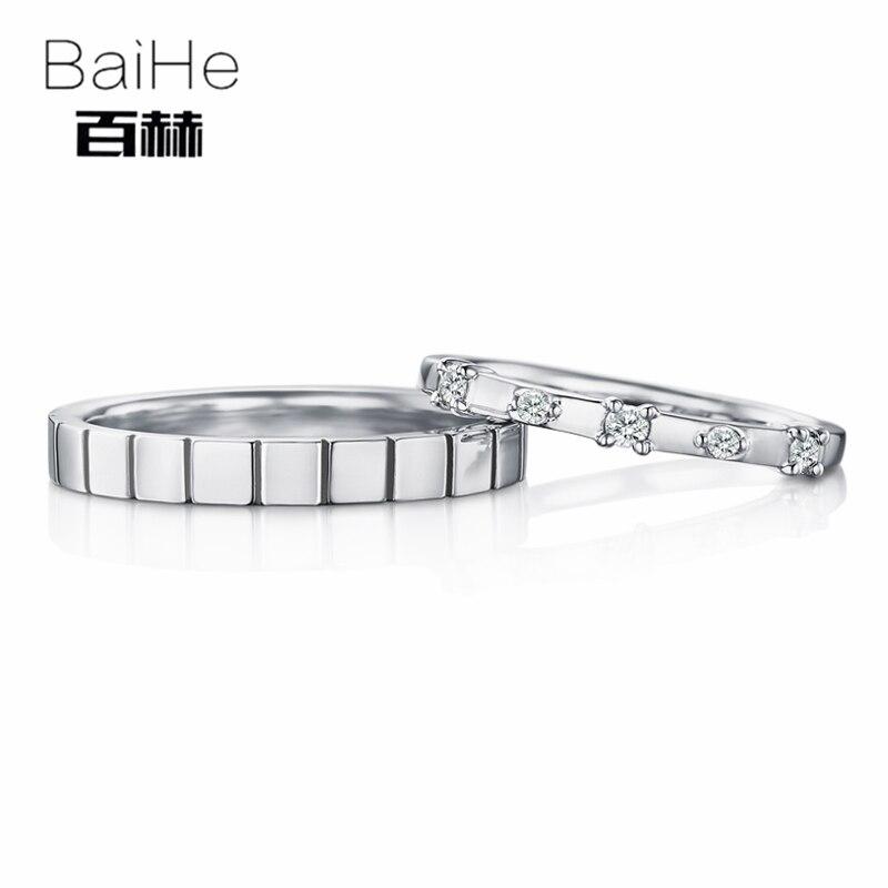 BAIHE одноцветное 18 К белого золота 0.18CT Certified H/SI круглый 100% из натуральной бриллиантами свадебные для женщин Мода Обручальное кольцо ювелирны...