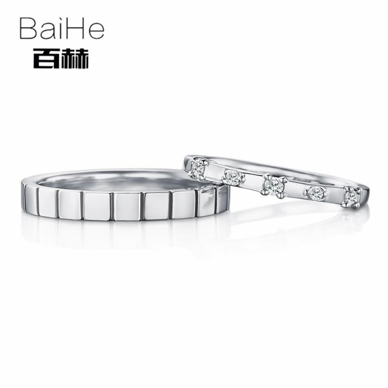 BAIHE Solido 18 k Oro Bianco 0.18CT Certified H/SI Tondo 100% Genuino Diamanti Naturali Cerimonia Nuziale di Donne Alla Moda Dei Monili anello di coppia