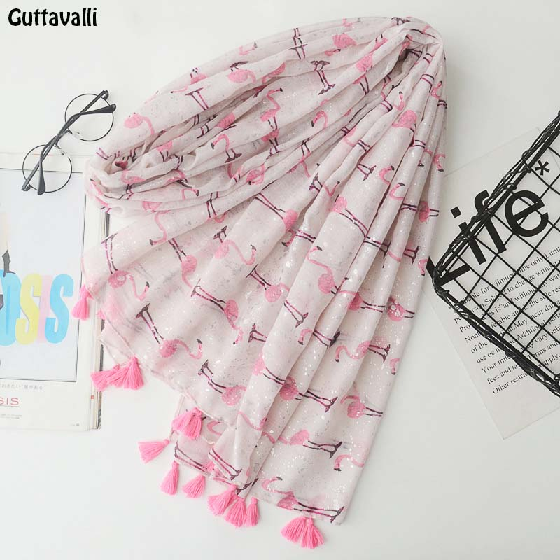 Guttavalli Women Small Flamingos Print Long Tassels Shawl Summer Female Cotton Animals Scarf Bohemia Pink Skinny Chevron Scarves
