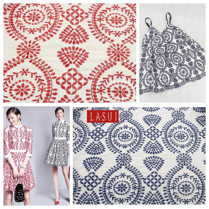 LASUI 3yards 1lot 2colors 2017 cotton folk style full lace embroidery fabric handmade DIY princess dress