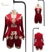 Скромный бордовый костюмы с укороченными брюками Вечеринка платья Vestido de fiesta бархат вышивка кружевное вечернее платье