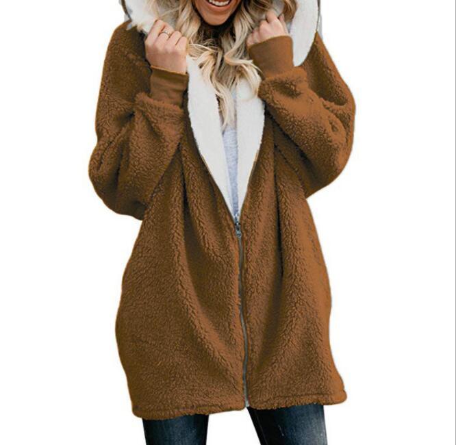 5XL automne hiver vestes à capuche femmes surdimensionnées 2018 décontracté Zipper épais peluche à capuche veste lâche Streetwear sweat