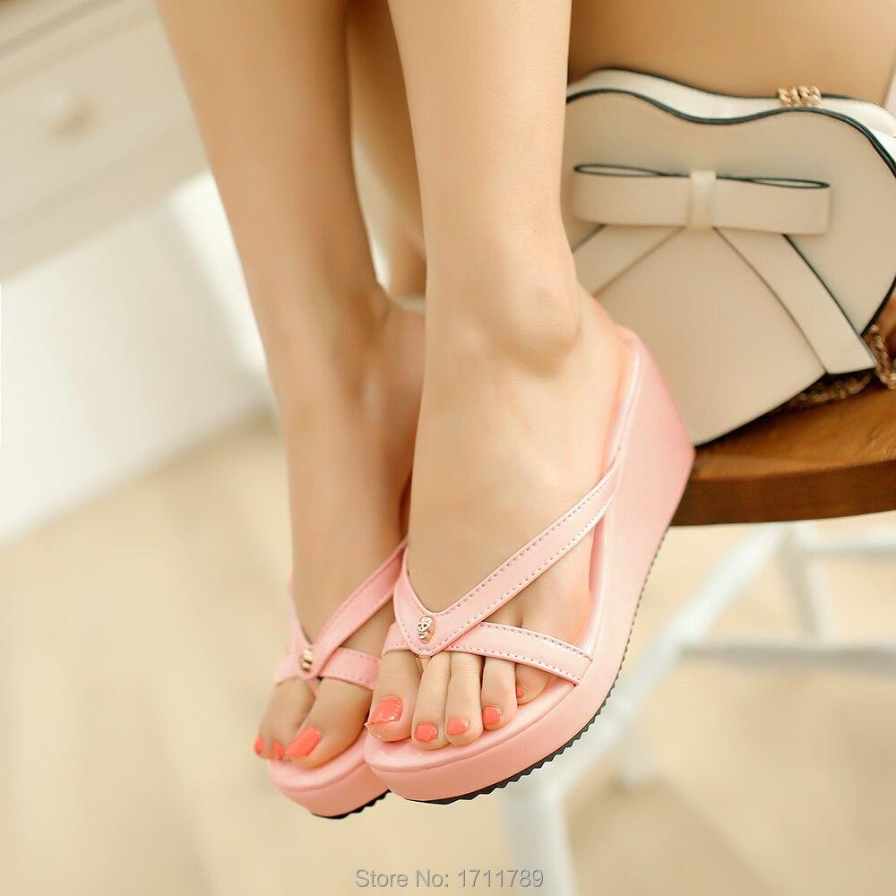 New Fashion Women Sandals High Heels Slides Summer Beach Shoes Platform Wedges Slippers Small