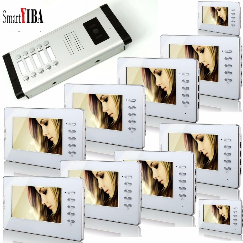 SmartYIBA Home Security 7Inch LCD Display Wire Video Door Phone Doorbell Speakerphone Video Intercom System 1 Camera 10 Monitor