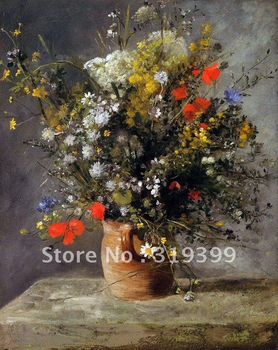 100% handmade Pierre Auguste Renoir Oil Painting reproduction on linen canvas ,flowers in a vase,Free Shipping,museum quality100% handmade Pierre Auguste Renoir Oil Painting reproduction on linen canvas ,flowers in a vase,Free Shipping,museum quality