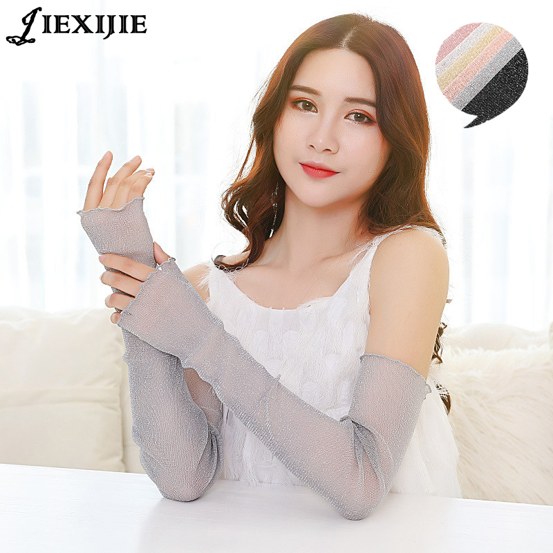 Hot Long Mesh Gauze Silver Sexy Sleeve Arms Outdoor Cooling Arm Sleeves Cover Uv Sun Protection Against Cellulite Hand Sleeve