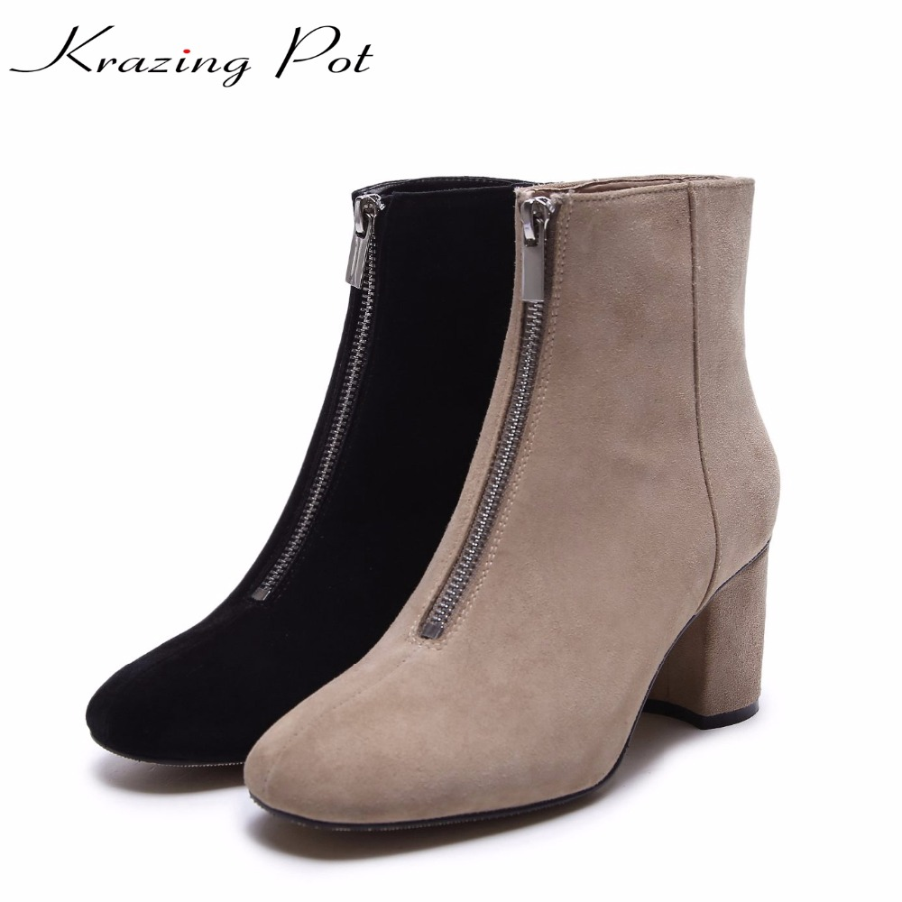 Krazing Pot sheep suede high street thick high heels Chelsea boots woman round toe keep warm solid office lady ankle boots L15 krazing pot hot sale cow suede round toe thick high heels fashion office lady bowtie design keep warm quality ankle boots l8f1