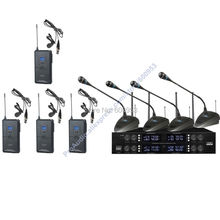 Pro 8x32 Channel adjustable UHF Wireless 4 Handheld Lavalier Mic Microphones System