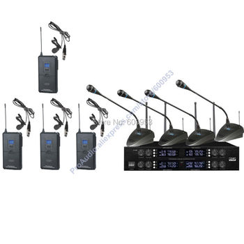 Pro 8x50 Channel adjustable UHF Digital Wireless 4 Handheld 4 Lavalier Mic Microphones System