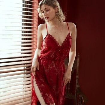 Sexy Lingerie Nightgown Underwear Lace Embroidery Seduction Women Nightwear Sling Back Cross Night Dress 2