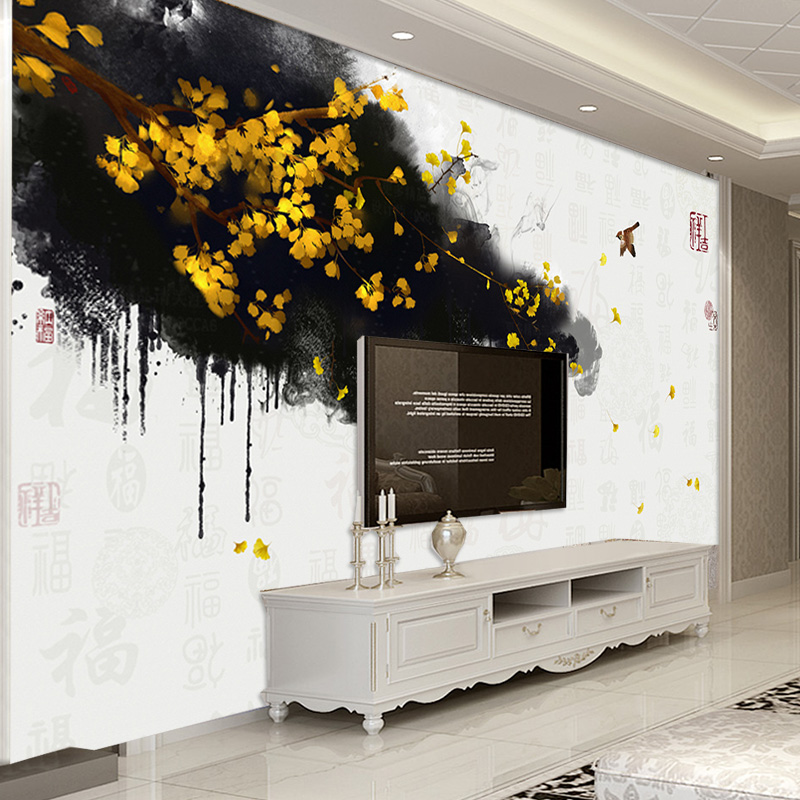 Custom photo Wall Mural Wallpaper Non-woven Mural Wall Hand Painted Chinese Gold Ginkgo Blessing TV Background Fresco Wallpaper custom photo wallpaper hand painted japanese cuisine sushi wooden background wallpaper restaurant kitchen custom mural