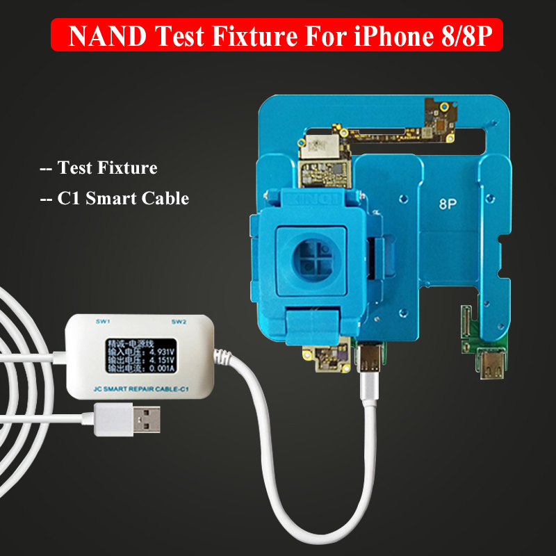 <font><b>JC</b></font> T7 T8 <font><b>NAND</b></font> Hard Disk Test Fixture With <font><b>JC</b></font> C1 Smart Cable For iPhone 6S/6SP/7/7P/8/8P Mainboard Boot Test Fault Analysis image