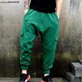 Men Green Jogger Pants Casual Sweatpants Cotton Terry New 2017 Plus Size Mens Harem Joggers Drop Crotch Multi Pockets
