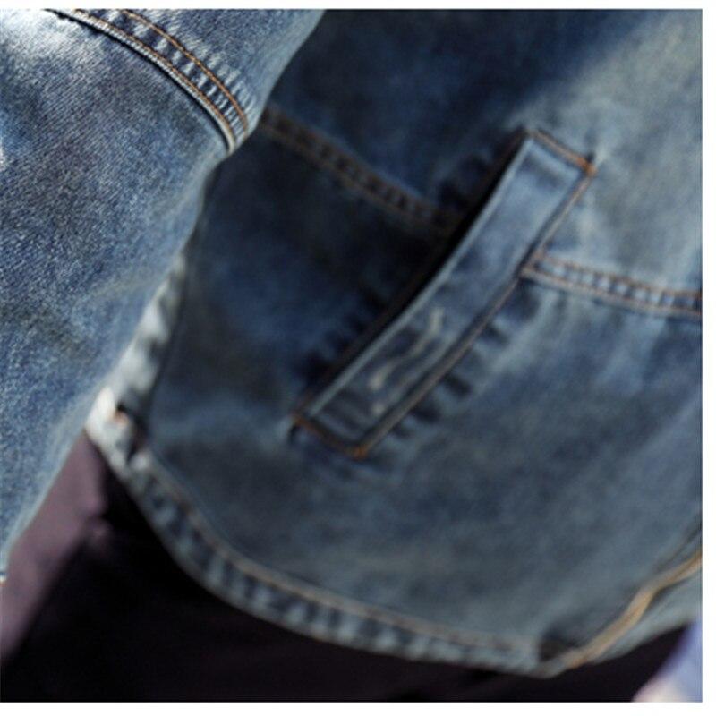 À 2018 Blue Printemps Taille Capuchon Jeans Femmes Coréen Mince Vestes Femme Courte Casual Veste Denim Manteau Grande Brodé Style Iq7xpBUI