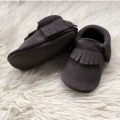 Handmade Grey Suede Baby Moccasins Leather Baby Shoe