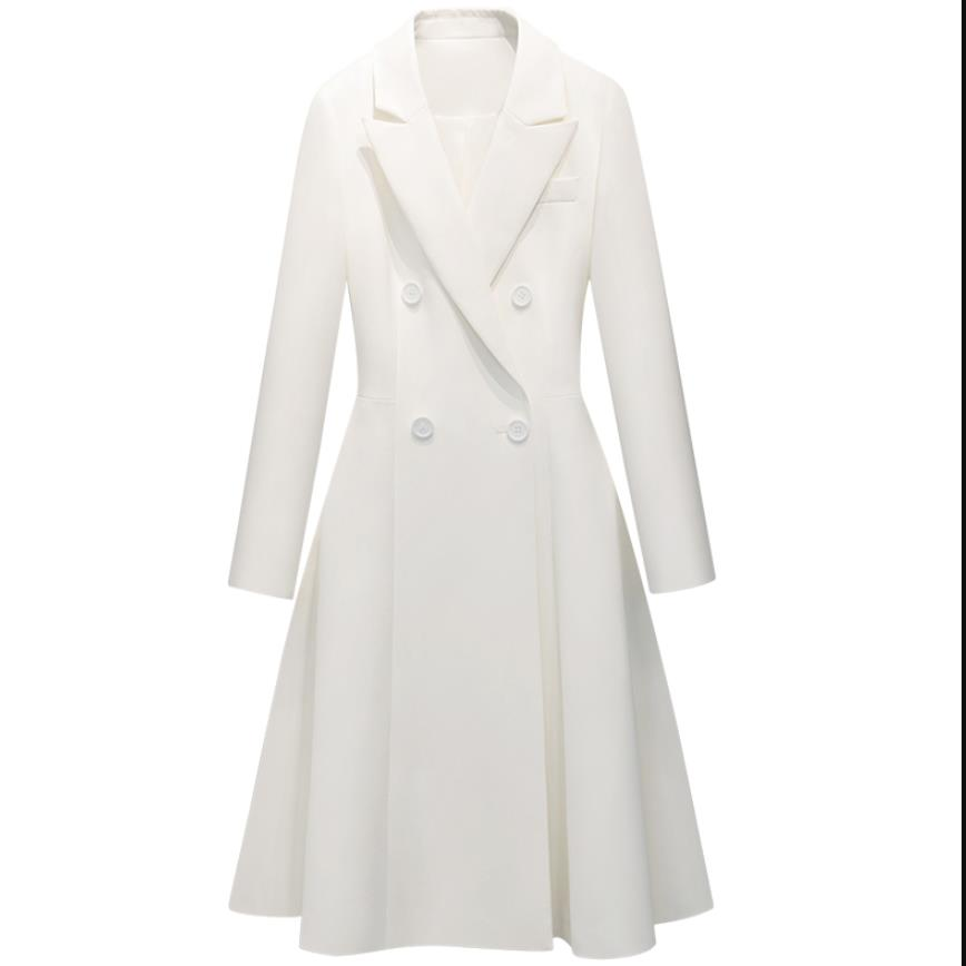 2019 autumn fashion Design brand High end Women Long   Trench   coat Autumn New Double Breasted white Outwear