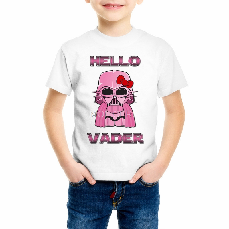 Милый мультфильм Звездные войны рисунок «Hello Kitty» Дизайн принцессы для девочек футболки мальчиков Вейдер Повседневное футболки детская оде...