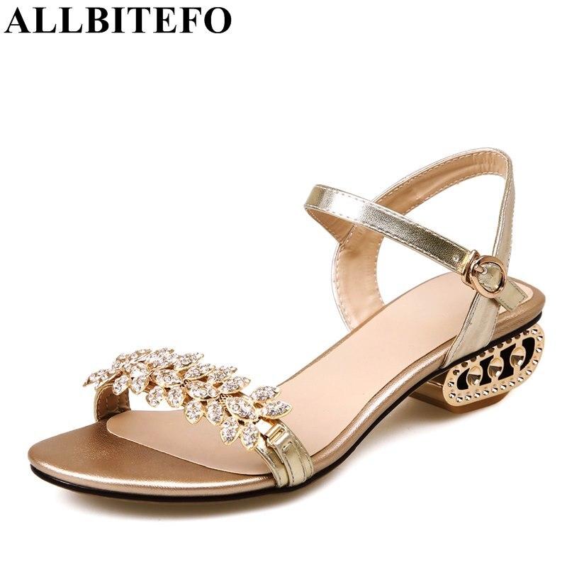 bb4b5e8647 Allbitefo Low salto 42 Carneiro Casamento Sapatos Strass Grosso Confortável Sandálias  Salto Mulheres Tamanho OuroDourado 34 Pele De Da Moda Alto ...