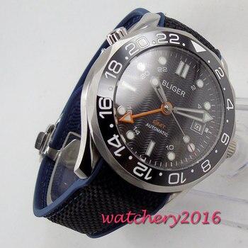 Роскошные мужские часы модные Bliger керамический ободок Механический черный циферблат автоматический сапфировое стекло светящийся ДАТА GMT н...