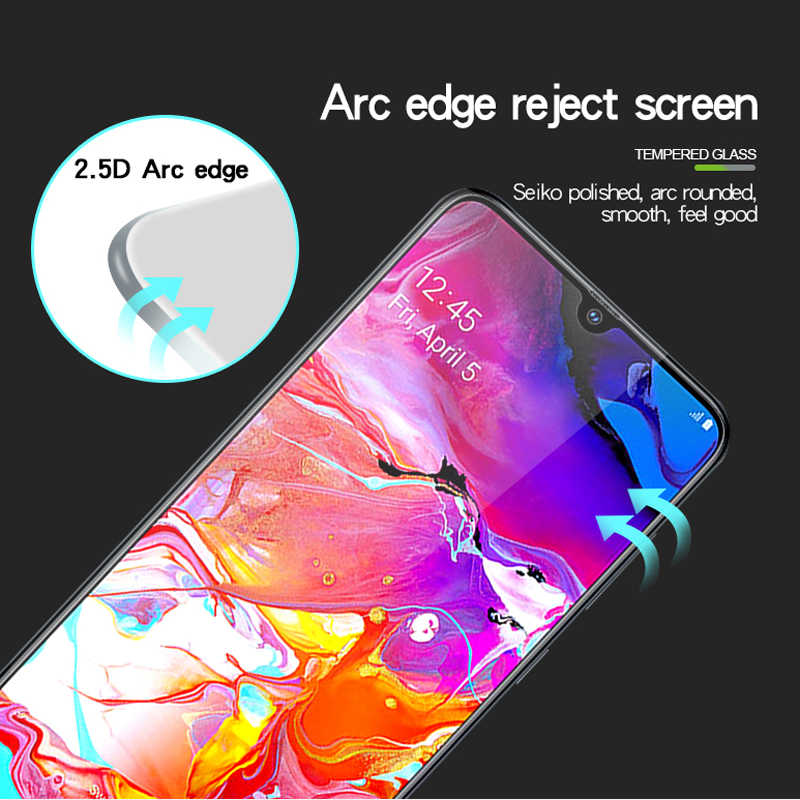 9D Full Coverage Tempered Glass for Samsung Galaxy A90 A80 A70 A60 A50 Screen Protector for Samsung A40 A30 A20 A10 Black Film