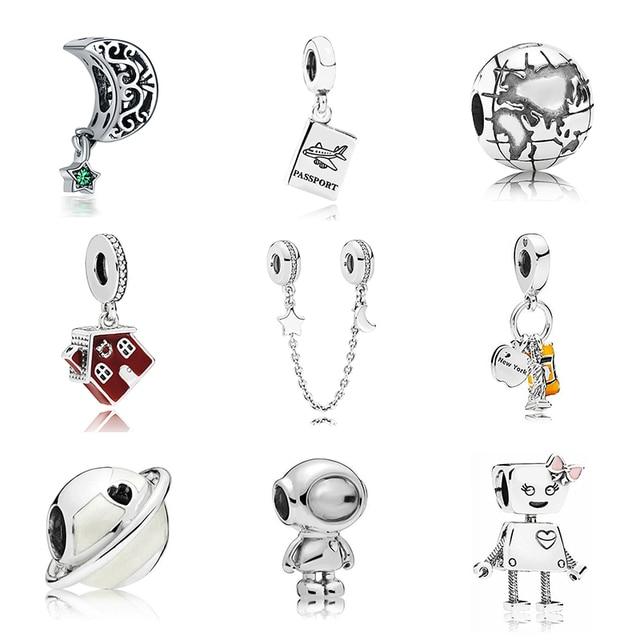 Новый Бесплатная доставка Щепка покрытием бисера праздник путешествия Рождество Шарм Fit оригинальный браслет Pandora цепочки и ожерелья DIY для женщи