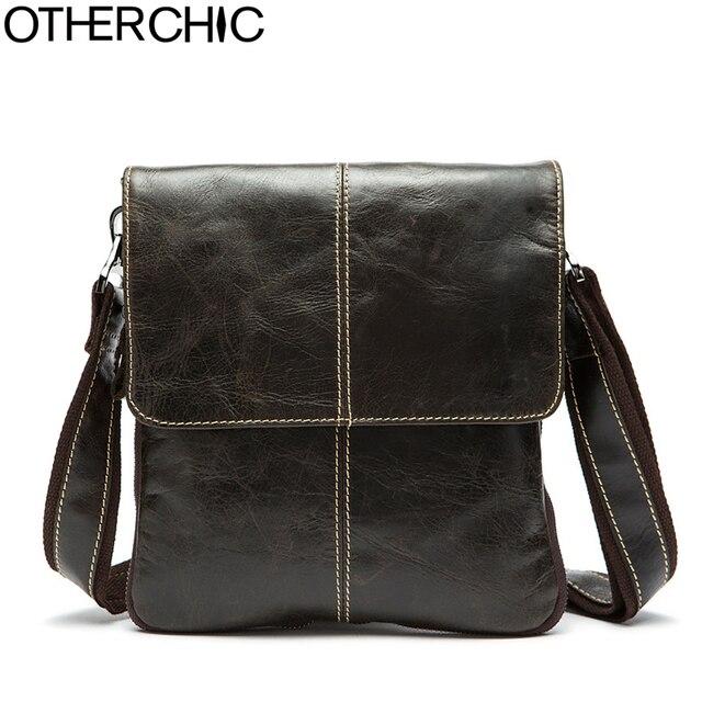 3b6bbfea0dcd OTHERCHIC Genuine Leather Men Bags Small Vintage Messenger Bags Fashion  Simple Travel Bag Crossbody Shoulder Bag For Men 7N04-26