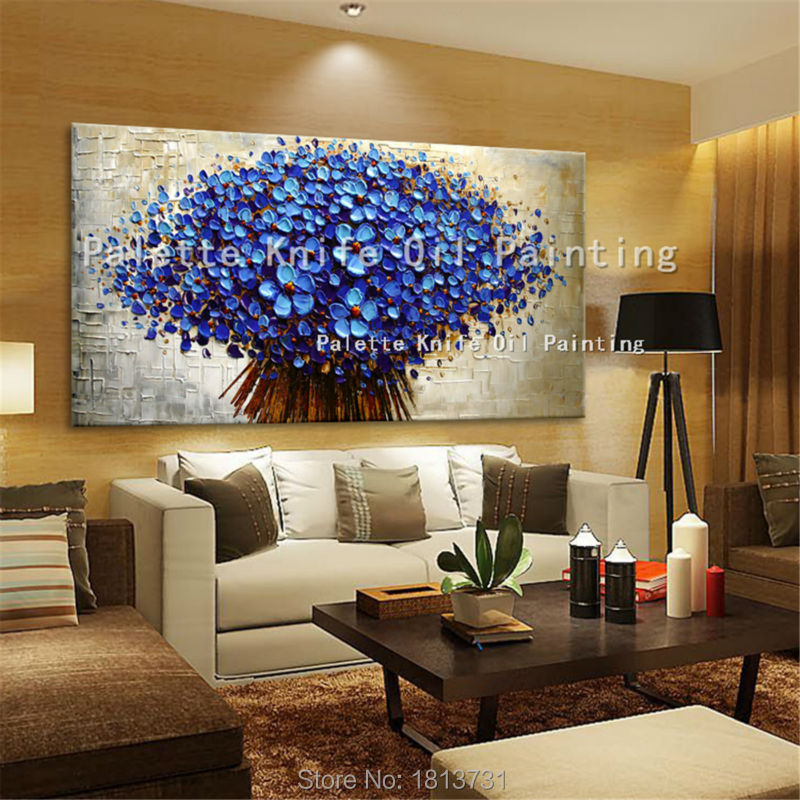 Canvas Painting Hand Painted Palette Knife 3D Flower Wall