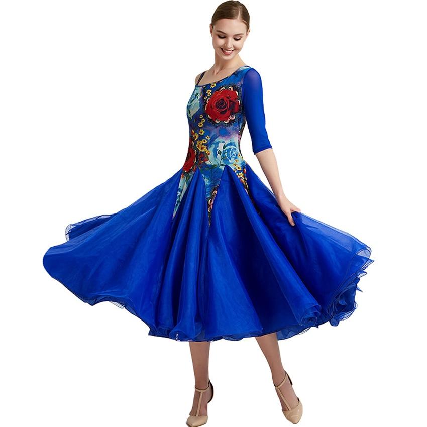 Women Ballroom Dance Dresses Single sleeve Standard Ballroom Dancing Clothes Competition Standard Dance Dress Waltz Foxtrot