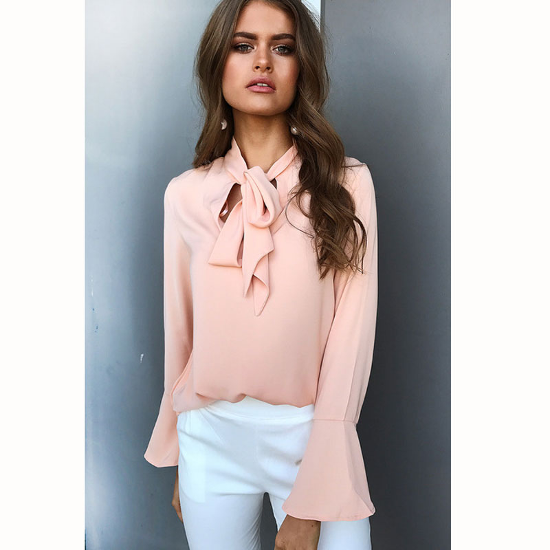 84228bea27e US $13.67 |Ebizza Fashion V Neck Lace Up Women Blouse Flare Sleeve Ruffles  Long Yellow White Pink Navy Blue Female Tops -in Blouses & Shirts from ...