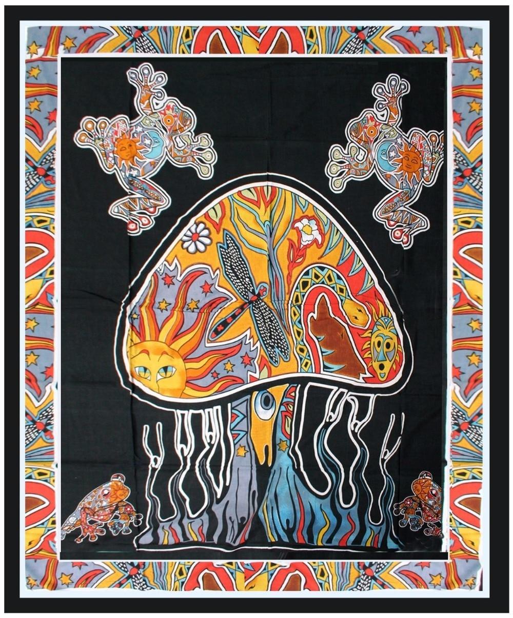 CAMMITEVER Red Sun Totem Frog Psychedelic Mushroom Árbol de la noche - Textiles para el hogar