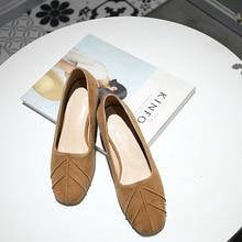 Spring 2017 New Genuine Leather Sheepskin Suede Women Retro Moccasins Slip on Round Toe Med Heels Shoes OL Elegant Pumps