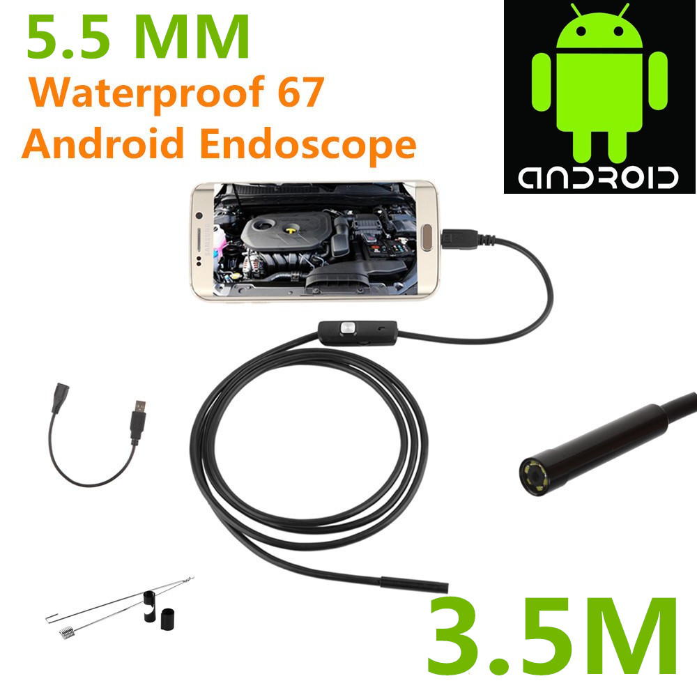 Endoscope Borescope USB Android Inspection Camera HD 6 LED 5.5mm Lens 720P Waterproof Car Endoscopio Tube mini Camera 3.5M gakaki 7mm lens usb endoscope borescope android camera 2m waterproof inspection snake tube for android phone borescope camera