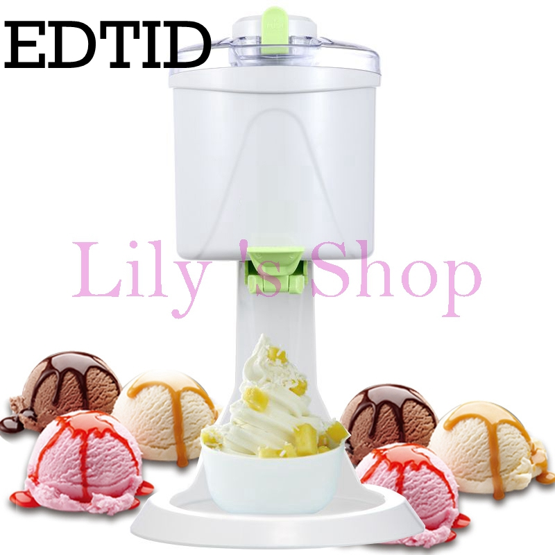 EDTID DIY home use ice cream maker household electric icecream sundae making machine automatic fruit mini ice cream cones EU US square pan rolled fried ice cream making machine snack machinery