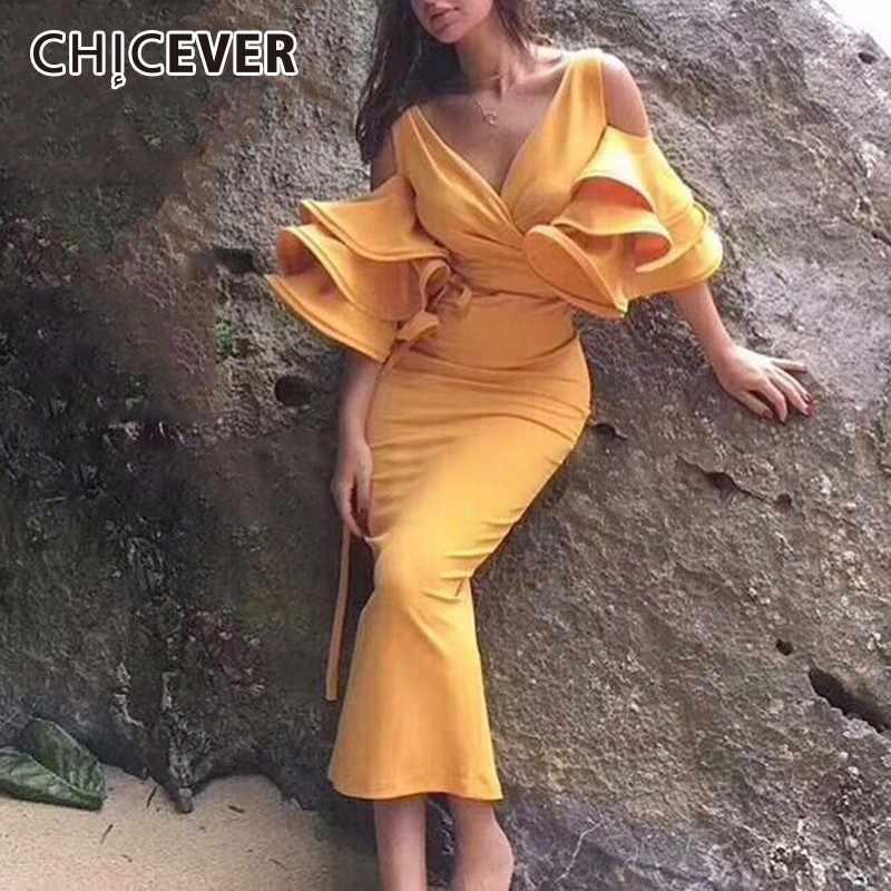 CHICEVER лето с плеча платья для Для женщин V шеи Flare рукавом оборками сексуальное облегающее платье миди Женская мода 2018 г. Элегантные
