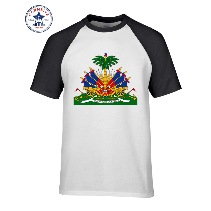 Hot Selling Funny Crest Haiti Flag Funny Cotton T Shirt For Men T-shirts