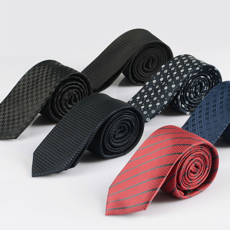 New Men Slim Ties Neckties Classic Polyester Woven Party Necktie  Fashion Plaid Man Tie For Wedding LD065